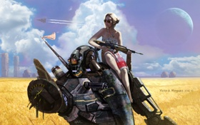 Картинка девушка, оружие, фон, фантастика, робот, арт, очки