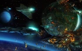 Обои огонь, космос, планета, корабли, взрывы
