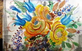 Обои цветы, букет, Рисунок, желтые, голубые