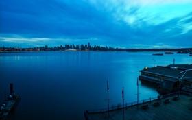 Обои город, North Vancouver, Lonsdale Quay, вечер, дома