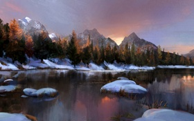 Картинка зима, снег, деревья, горы, озеро, камни, арт