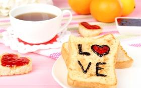 Обои чай, апельсины, кружка, love, напиток, джем, тосты
