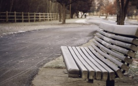 Обои winter, walk, bench