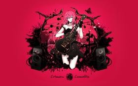 Картинка music, guitar, Megurine Luka, loudspeaker, Crimson Camellia