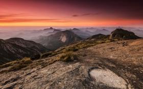 Картинка небо, горы, рассвет, панорама