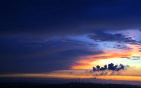 Обои море, небо, закат, город
