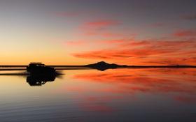 Картинка пейзаж, закат, берег, вечер