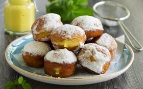 Картинка выпечка, сладость, пончики с ванильным кремом