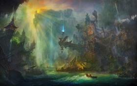 Картинка свет, скалы, лодка, маяк, корабли, ущелье, Арт