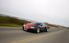 Картинка дорога, движение, bugatti veyron, бугатти вэйрон