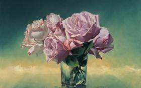Картинка стекло, цветы, стакан, розы, картина, ваза, натюрморт