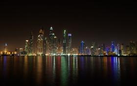 Обои ночь, огни, здания, Дубай, небоскрёбы