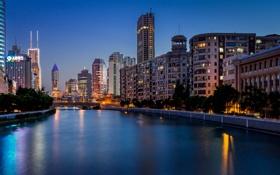 Обои мост, China, здания, Китай, Shanghai, Шанхай, ночной город