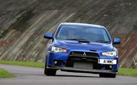 Обои дорога, синий, скорость, тачки, mitsubishi, синие, lancer