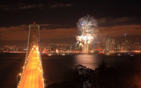 Обои ночь, мост, город, Калифорния, Сан-Франциско, фейерверк, USA