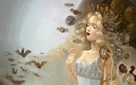 Обои животные, Девушка, созвездия, светлые волосы