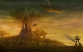 Картинка небо, огни, стены, дым, маяк, Город, летающий корабль