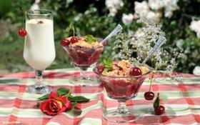 Обои лето, вишня, бокал, роза, молоко, десерт, крамбл