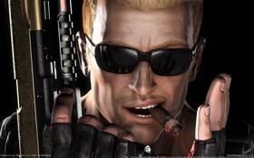 Обои пистолет, очки, сигара, duke nukem, forever, game wallpaper