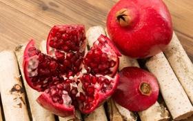 Обои плоды, дольки, гранат, веточки березы