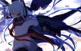 Картинка небо, девушка, облака, оружие, аниме, арт, kantai collection