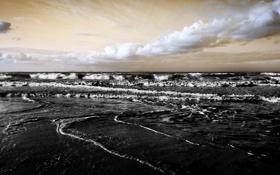 Обои море, волны, пляж, облака, пейзаж, обои, горизонт