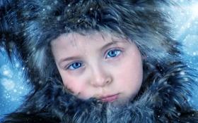 Обои портрет, девочка, грусть, снег