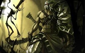 Обои варвар, силач, маска, воин