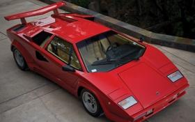 Обои машина, спойлер, lamborghini, красная, countach, lp5000 s quattrovalvole