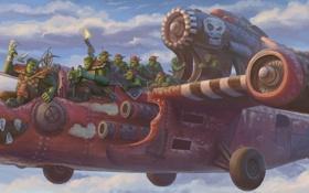 Картинка небо, облака, самолет, портрет, армия, арт, орки