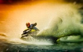 Обои брызги, водный мотоцикл, вода, гонщик, спорт