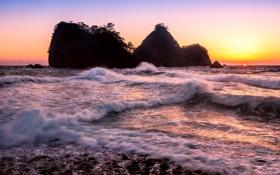 Обои закат, скалы, волны, солнце, море