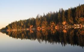 Картинка отражение, река, пейзажи, на закате