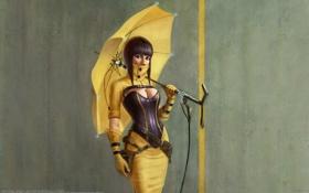 Обои девушка, зонт, Arthur Gurin
