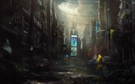 Обои город, апокалипсис, человек, костюм, разрушение, art, конец