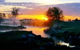 Обои закат, туман, роса, река, ручей, утро, вкчер