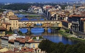 Картинка небо, деревья, мост, река, дома, Италия, панорама