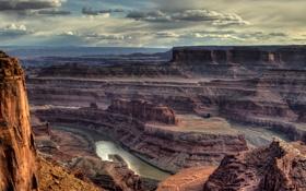 Картинка небо, облака, горы, река, скалы, каньон