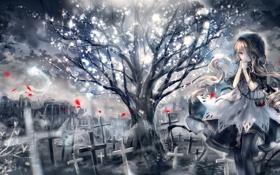 Картинка девушка, дерево, кресты, дома, аниме, лепестки, арт