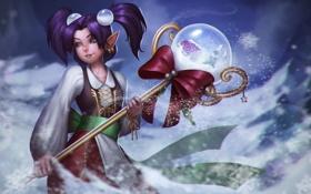 Обои зима, девушка, новый год, посох, Pearl, Heroes of Newerth, хрустальный шар