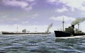 Картинка торговые корабли, цельнометаллический, самолёт-разведчик, танкер, Heinkel He 114, рисунок, море