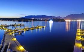 Обои гидросамолет, Канада, причал, Ванкувер, ночь, море, гидроплан