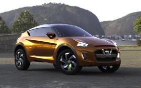 Обои Concept, горы, фон, Ниссан, концепт, Nissan, вид сзади