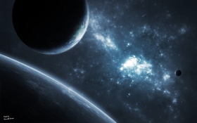 Обои поверхность, луна, планета, спутник, атмосфера
