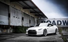 Картинка белый, небо, склад, Nissan, white, GT-R, ниссан