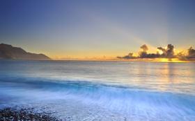 Картинка море, волны, пейзаж, закат, природа, камни, берег
