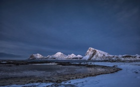 Картинка горы, север, скалы, снег, море