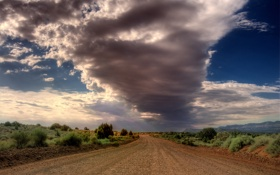 Картинка облака, пустыня, небо, дорога