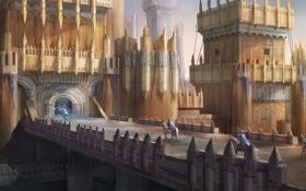 Обои мост, замок, кони, арт, арка, крепость, всадники
