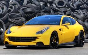 Обои желтый, фон, тюнинг, Феррари, Ferrari, шины, суперкар